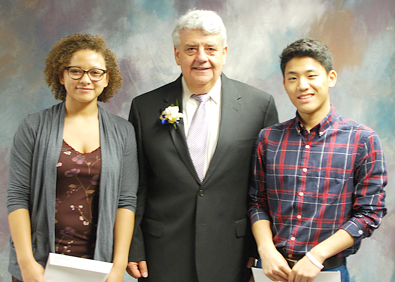 Foundation Trustee, Elias Matsakis (center) with GBS students Courtney Smith and Taewoo Kim