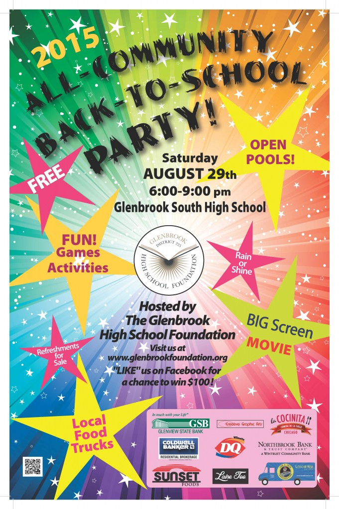 Please join us for the All-Community Back-to-School Party on Saturday, August 29 from 6-9 at Glenbrook South High School.  The event is FREE and open to all community members.   See you there!